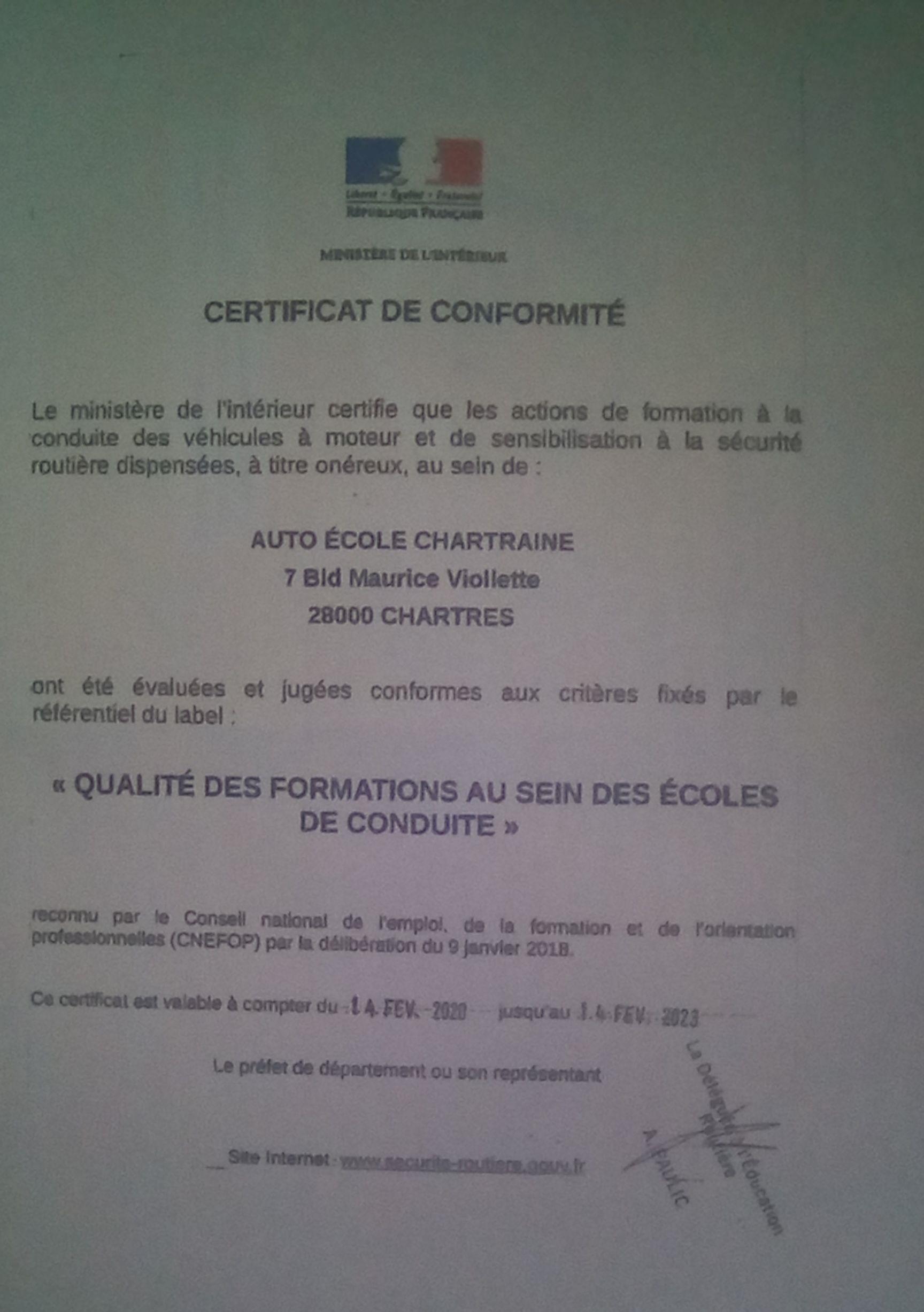 Certificat de conformité - Ecole de Conduite Chartraine